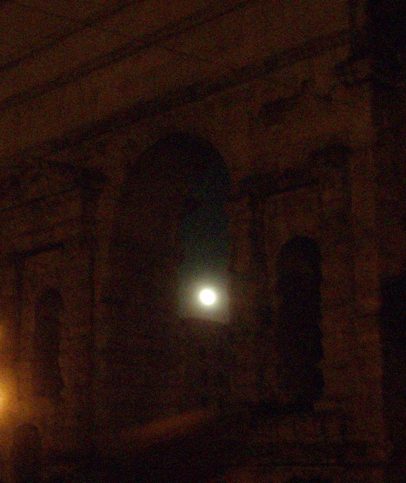 Moon thru ruins