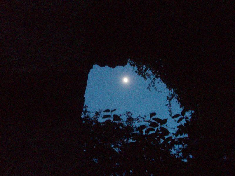 Moon through aqueduct